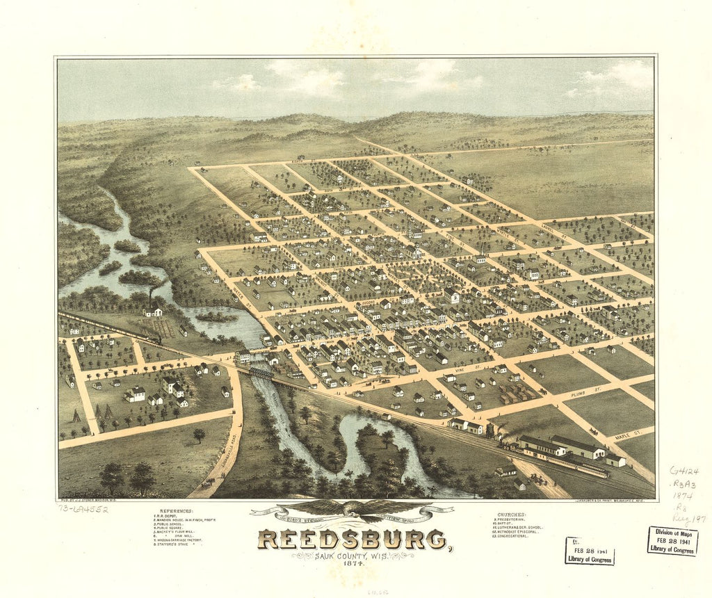 8 x 12 Reproduced Photo of Vintage Old Perspective Birds Eye View Map or Drawing of: Reedsburg, Sauk County, Wis. 1874. [Ruger, A.] 1874