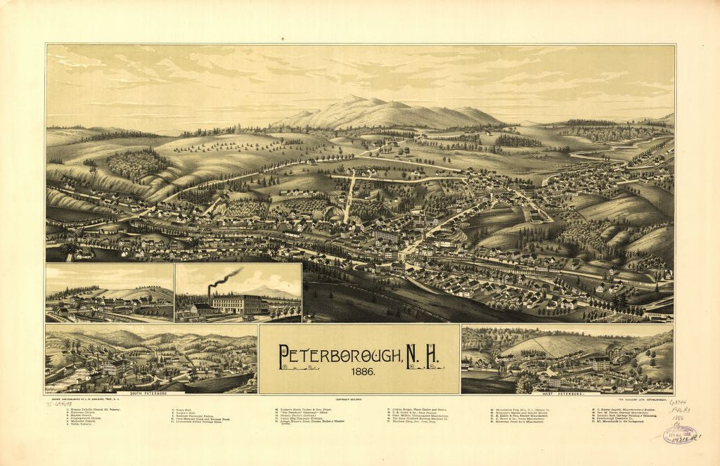 8 x 12 Reproduced Photo of Vintage Old Perspective Birds Eye View Map or Drawing of: Peterborough, N.H. 1886.  Burleigh, L. R. (Lucien R.) - Burleigh Litho - Burleigh, L. R.  1886
