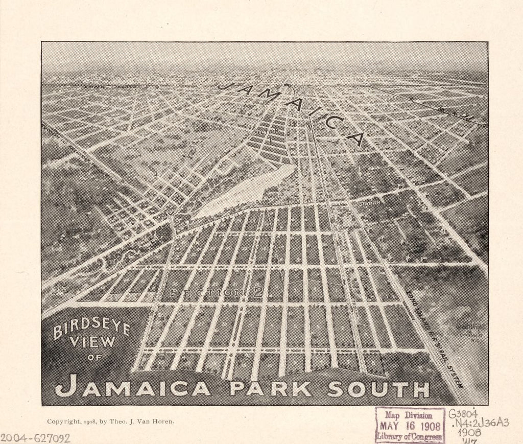 8 x 12 Reproduced Photo of Vintage Old Perspective Birds Eye View Map or Drawing of: Birdseye Jamaica Park South : [Queens, New York City, N.Y.  Wright, Grant - Van Horen, Theo. J. 1908