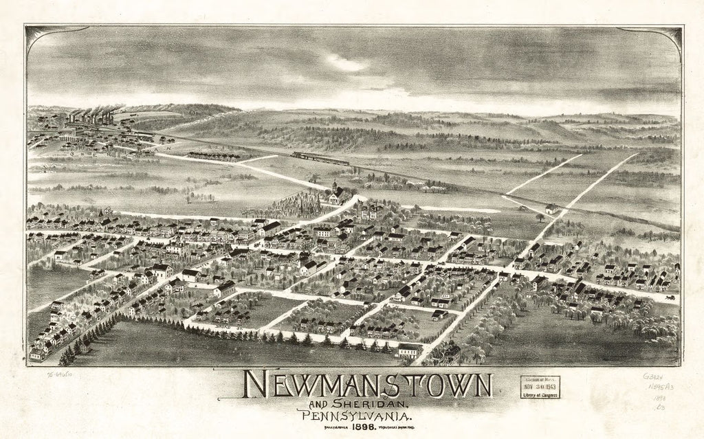 8 x 12 Reproduced Photo of Vintage Old Perspective Birds Eye View Map or Drawing of: Newmanstown and Sheridan, Pennsylvania 1898. Bailey & Moyer 1898