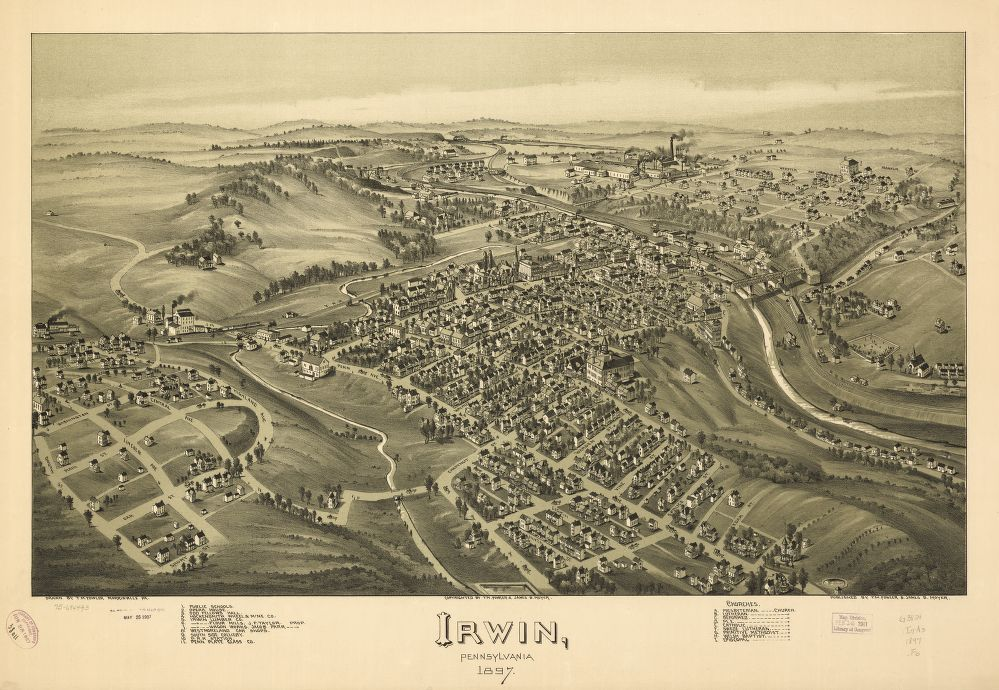 8 x 12 Reproduced Photo of Vintage Old Perspective Birds Eye View Map or Drawing of: Irwin, Pennsylvania 1897. Fowler, T. M. - Moyer, James - Fowler, T. M. 1897