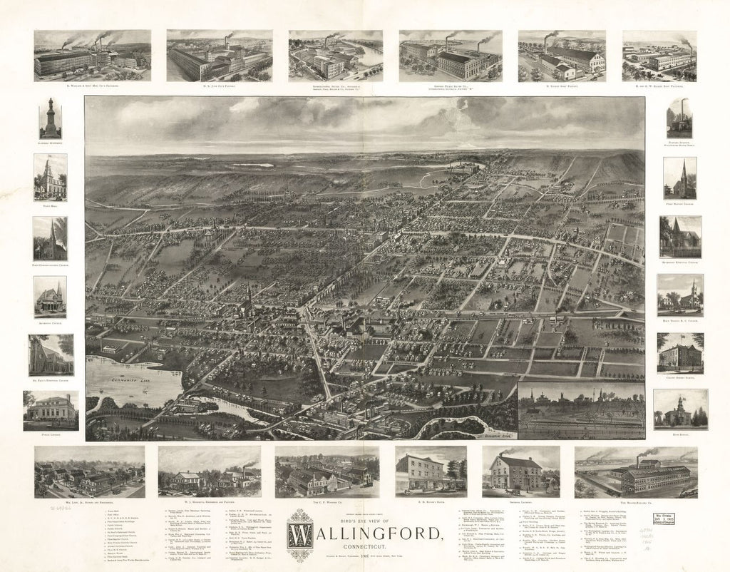 8 x 12 Reproduced Photo of Vintage Old Perspective Birds Eye View Map or Drawing of: Wallingford, Connecticut.  Hughes & Bailey  1905