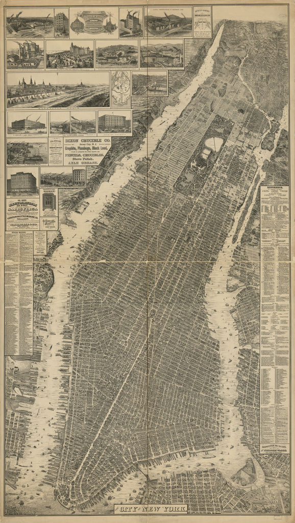 8 x 12 Reproduced Photo of Vintage Old Perspective Birds Eye View Map or Drawing of: New York. Taylor, Will L. - Galt & Hoy 1879