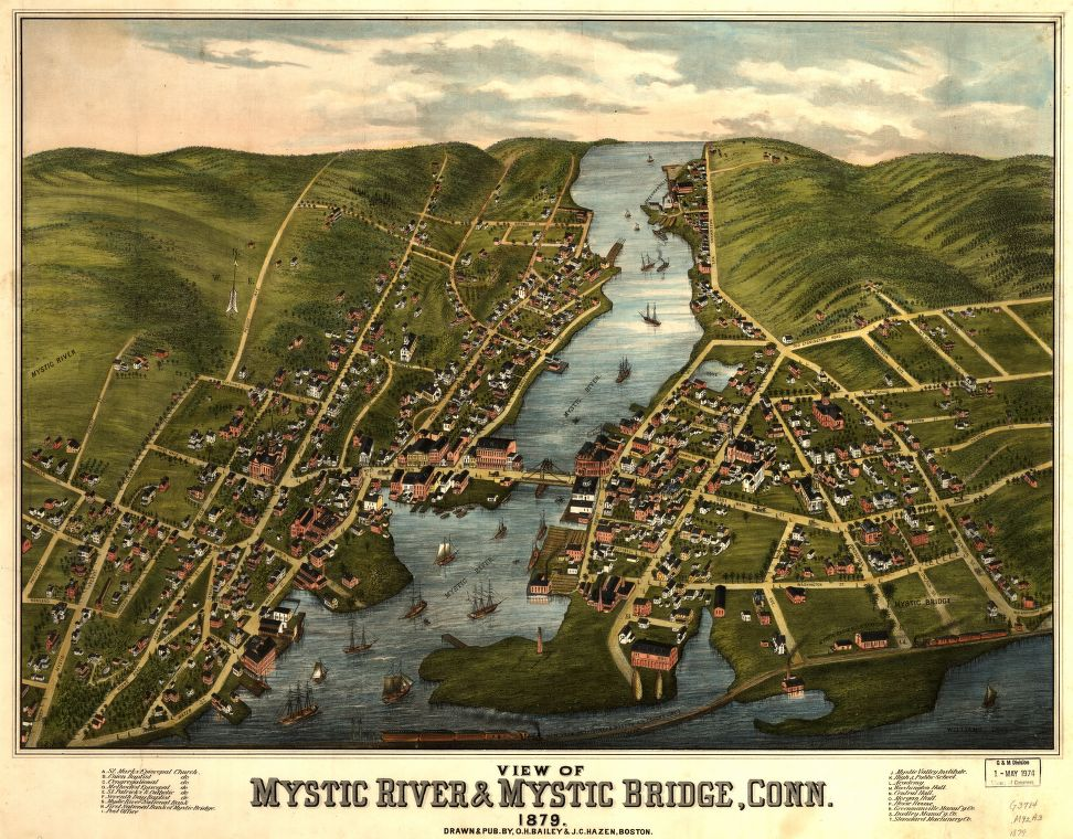 8 x 12 Reproduced Photo of Vintage Old Perspective Birds Eye View Map or Drawing of: Mystic River & Mystic Bridge, Conn. 1879.   Bailey, O. H. (Oakley Hoopes) - Hazen, J. C. - Bailey, O. H.  1879