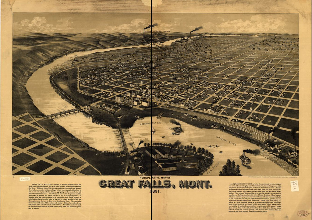 8 x 12 Reproduced Photo of Vintage Old Perspective Birds Eye View Map or Drawing of: Great Falls, Mont. 1891. American Publishing Co. (Milwaukee, Wis.) 1891