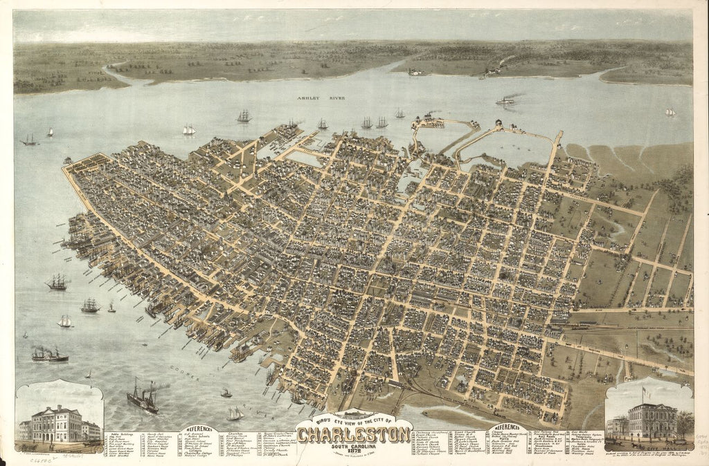 8 x 12 Reproduced Photo of Vintage Old Perspective Birds Eye View Map or Drawing of: Charleston, South Carolina 1872. Drie, C. N. 1872