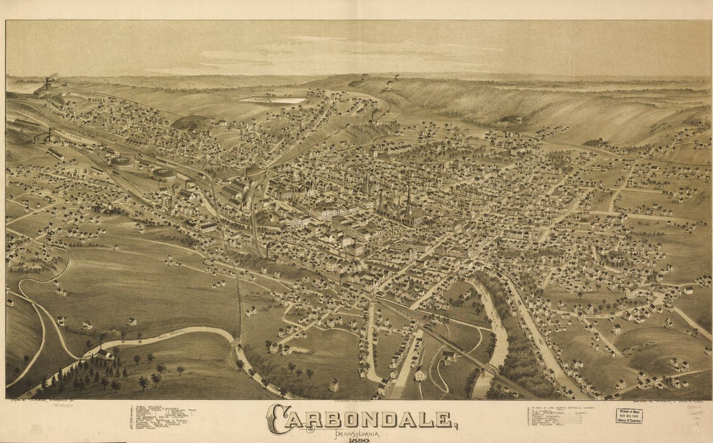 8 x 12 Reproduced Photo of Vintage Old Perspective Birds Eye View Map or Drawing of: Carbondale, Pennsylvania, 1890. Fowler, T. M. - Downs, A. E. (Albert E.) - Moyer, James - Fowler, T. M. 1890