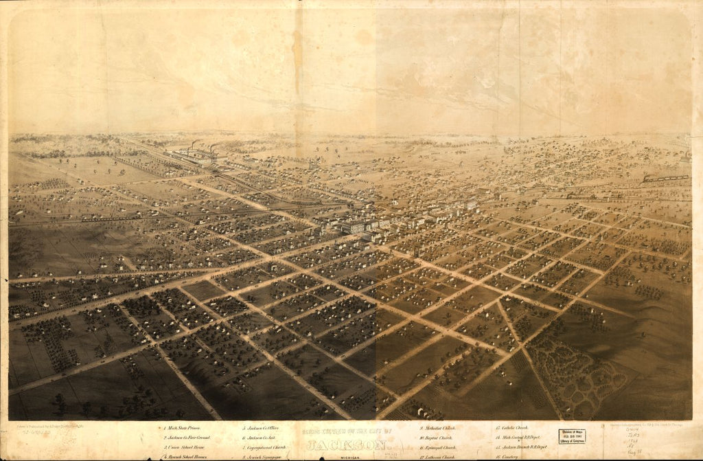 8 x 12 Reproduced Photo of Vintage Old Perspective Birds Eye View Map or Drawing of: Jackson, Michigan. Ruger, A. 1868?