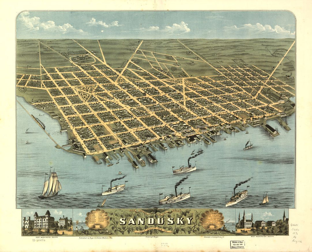 8 x 12 Reproduced Photo of Vintage Old Perspective Birds Eye View Map or Drawing of:  Sandusky, Erie County, Ohio 1870. Ruger, A. 1870