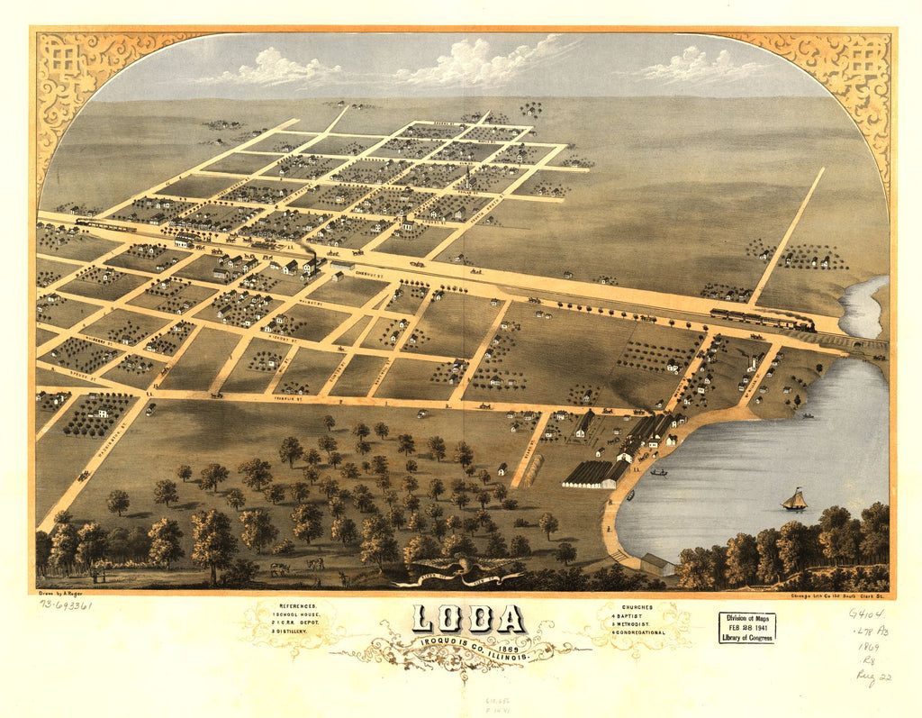8 x 12 Reproduced Photo of Vintage Old Perspective Birds Eye View Map or Drawing of: Loda, Iroquois Co., Illinois 1869. Ruger, A. 1869