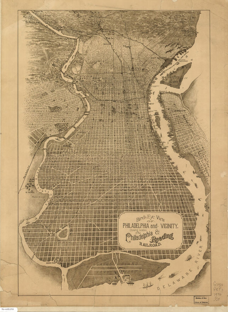 8 x 12 Reproduced Photo of Vintage Old Perspective Birds Eye View Map or Drawing of: Philadelphia and vicinity showing location of the Philadelphia & Reading Railroad. NONE 1870