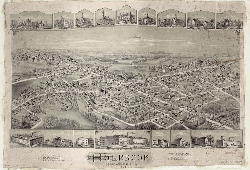8 x 12 Reproduced Photo of Vintage Old Perspective Birds Eye View Map or Drawing of: Holbrook, Massachusetts, 1892 : incorporated Feb. 29, 1872.  O.H. Bailey & Co.  1892