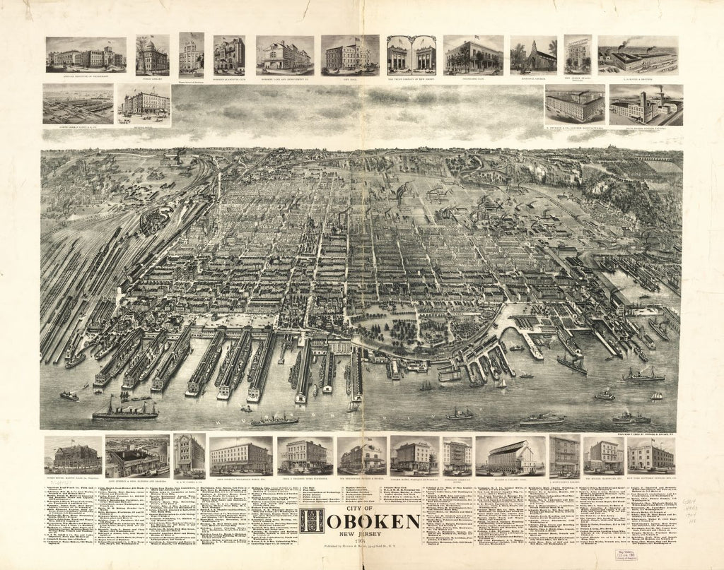 8 x 12 Reproduced Photo of Vintage Old Perspective Birds Eye View Map or Drawing of: Hoboken, New Jersey 1904. Hughes & Bailey 1904