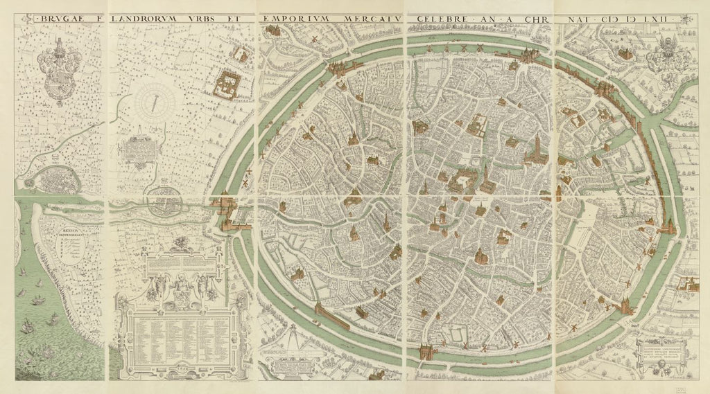 8 x 12 Reproduced Photo of Vintage Old Perspective Birds Eye View Map or Drawing of: Brugae Flandorum urbs et emporium mercatu celebre an a Chr. nat. Gheeraerts, Marcus, 19--?