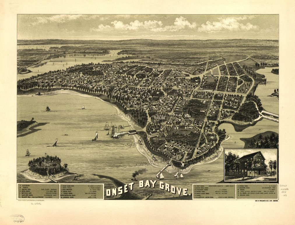 8 x 12 Reproduced Photo of Vintage Old Perspective Birds Eye View Map or Drawing of: Onset Bay Grove, Wareham, Mass. l885.  Walker, O. W. (Oscar W.) - Geo. H. Walker & Co. - Walker, O. W.  1885