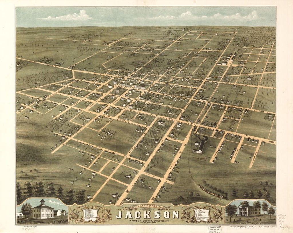 8 x 12 Reproduced Photo of Vintage Old Perspective Birds Eye View Map or Drawing of: Jackson, Madison County, Tennessee 1870. Ruger, A.Chicago Lithographing Co. 1870