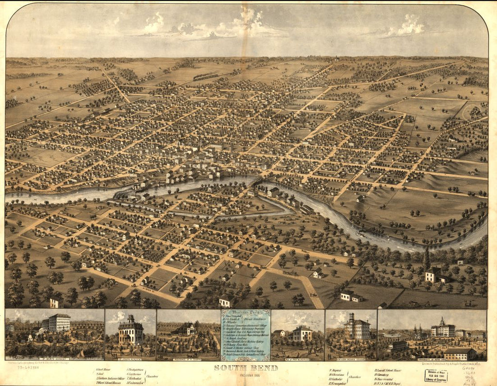 8 x 12 Reproduced Photo of Vintage Old Perspective Birds Eye View Map or Drawing of: South Bend, Indiana 1866. Ruger, A. 1866
