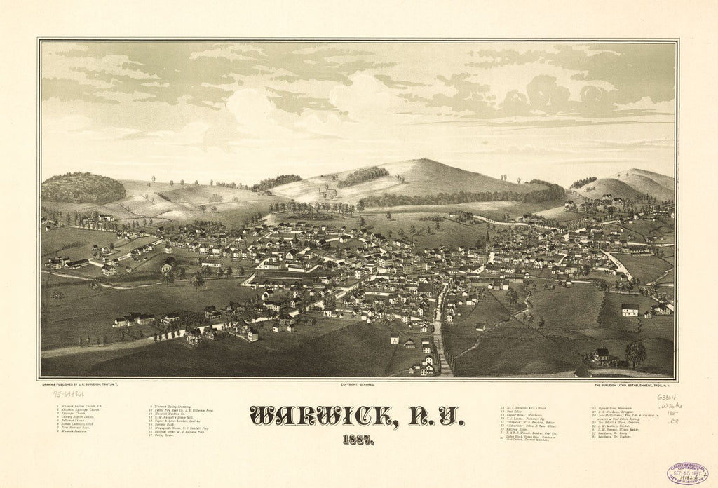 8 x 12 Reproduced Photo of Vintage Old Perspective Birds Eye View Map or Drawing of: Warwick, N.Y. 1887. Burleigh, L. R. (Lucien R.) - Burleigh Litho - Burleigh, L. R. 1887