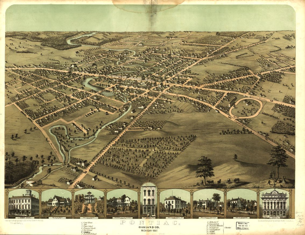 8 x 12 Reproduced Photo of Vintage Old Perspective Birds Eye View Map or Drawing of: Pontiac, Oakland Co., Michigan 1867. Ruger, A. 1867