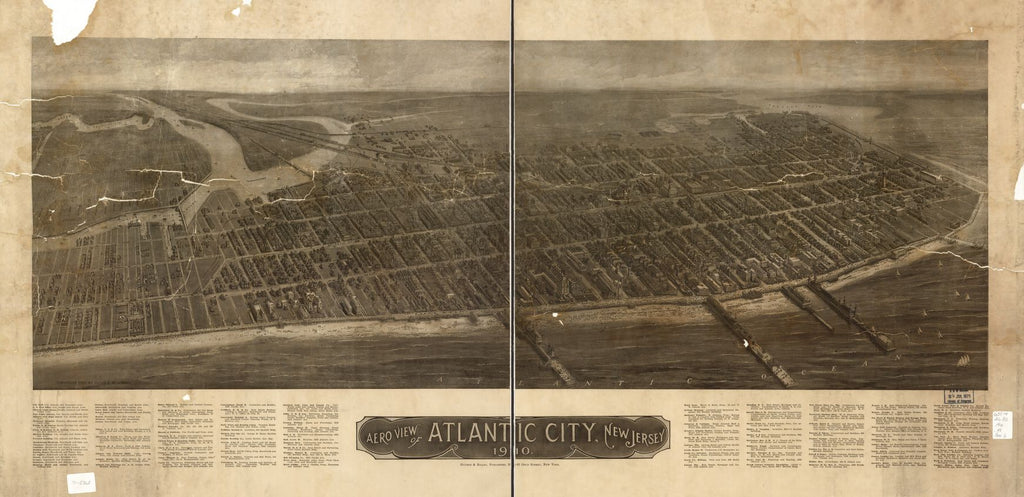 8 x 12 Reproduced Photo of Vintage Old Perspective Birds Eye View Map or Drawing of: Atlantic City, New Jersey 1910. Hughes & Bailey 1910