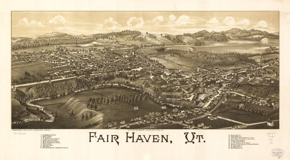 8 x 12 Reproduced Photo of Vintage Old Perspective Birds Eye View Map or Drawing of: Fair Haven, Vt.  Burleigh, L. R. (Lucien R.) - Burleigh, L. R.  1886