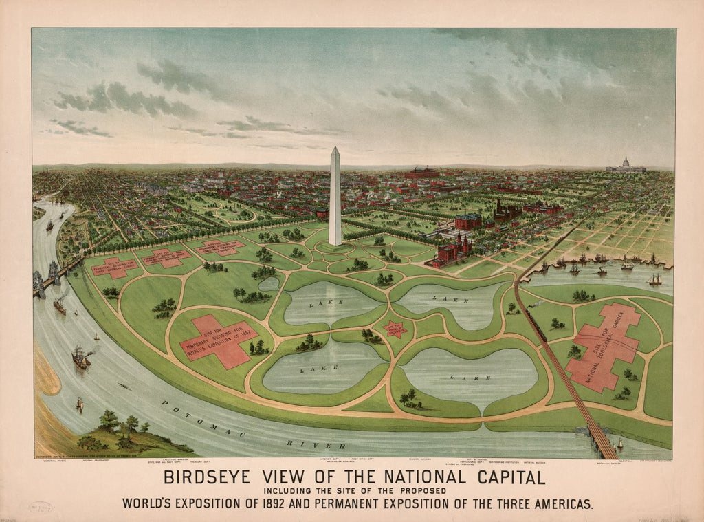8 x 12 Reproduced Photo of Vintage Old Perspective Birds Eye View Map or Drawing of: Birdseye the National Capital, including the site of the proposed World's Exposition of 1892 and Permanent Exposition of the Three Americas Johnson, E. Kurtz 1888