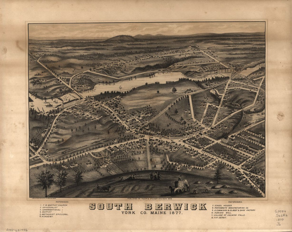 8 x 12 Reproduced Photo of Vintage Old Perspective Birds Eye View Map or Drawing of: South Berwick, York Co., Maine, 1877  Jos. Richards & Co. Lith - Ruger & Stoner  1877