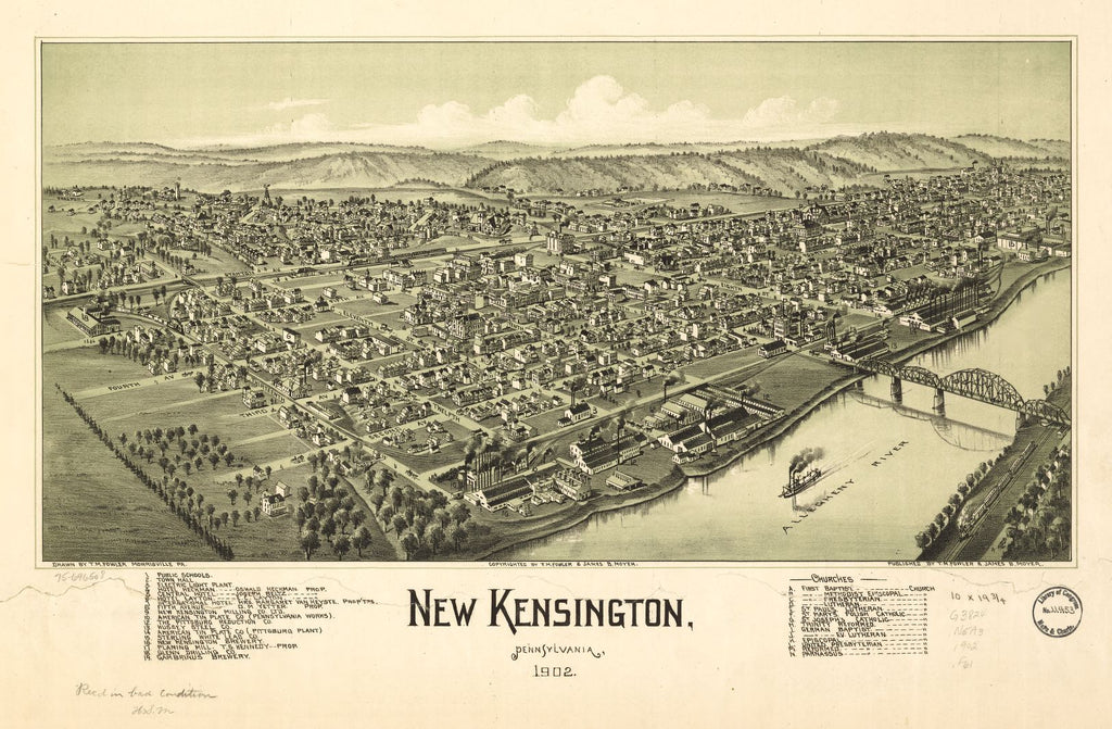 8 x 12 Reproduced Photo of Vintage Old Perspective Birds Eye View Map or Drawing of: New Kensington, Pennsylvania, 1902. Fowler, T. M. - Moyer, James - Fowler, T. M. 1902