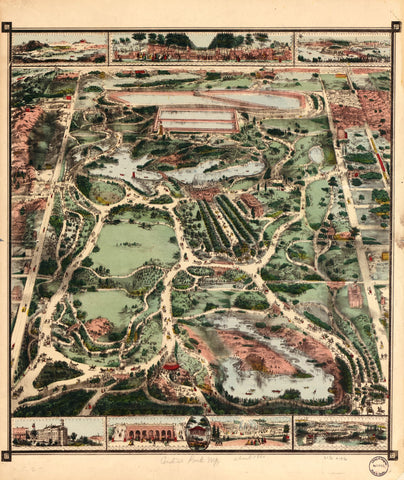 8 x 12 Reproduced Photo of Vintage Old Perspective Birds Eye View Map or Drawing of: [Central Park, N.Y.] NONE 1860