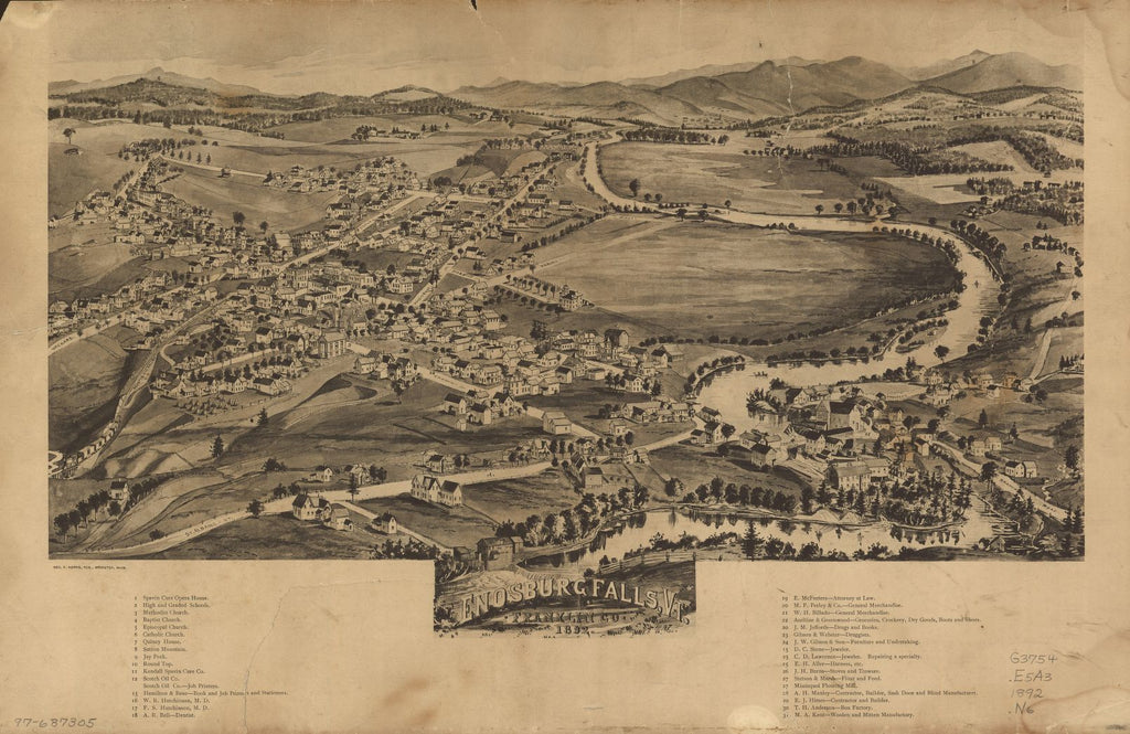 8 x 12 Reproduced Photo of Vintage Old Perspective Birds Eye View Map or Drawing of: Enosburg Falls, Vt., Franklin Co., 1892.  Norris, George E.  1892