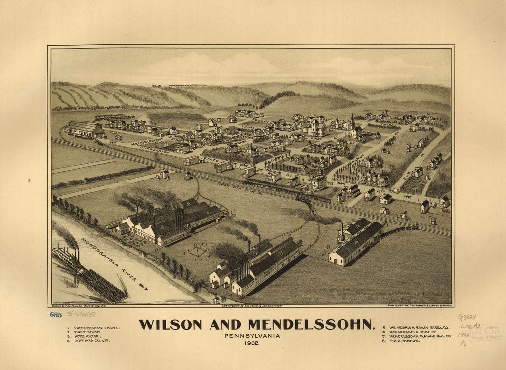 8 x 12 Reproduced Photo of Vintage Old Perspective Birds Eye View Map or Drawing of: Wilson and Mendelssohn, Pennsylvania 1902.  Fowler, T. M. - Moyer, James - Fowler, T. M.  1902