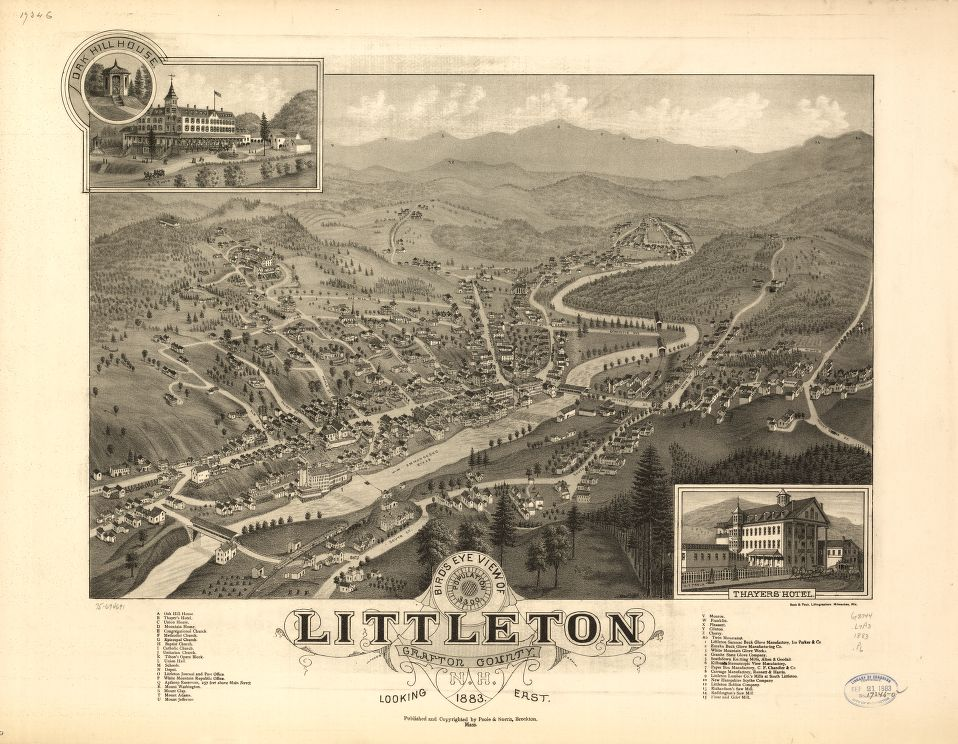 8 x 12 Reproduced Photo of Vintage Old Perspective Birds Eye View Map or Drawing of: Littleton, Grafton County, N.H. 1883.  Poole, A. F. - Beck & Pauli - Poole & Norris  1883