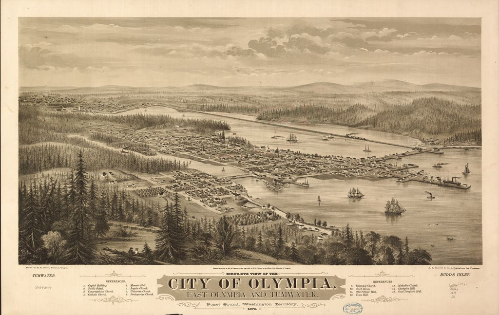 8 x 12 Reproduced Photo of Vintage Old Perspective Birds Eye View Map or Drawing of: Olympia, East Olympia and Tumwater, Puget Sound, Washington Territory, 1879. Glover, E. S. (Eli Sheldon) c1878