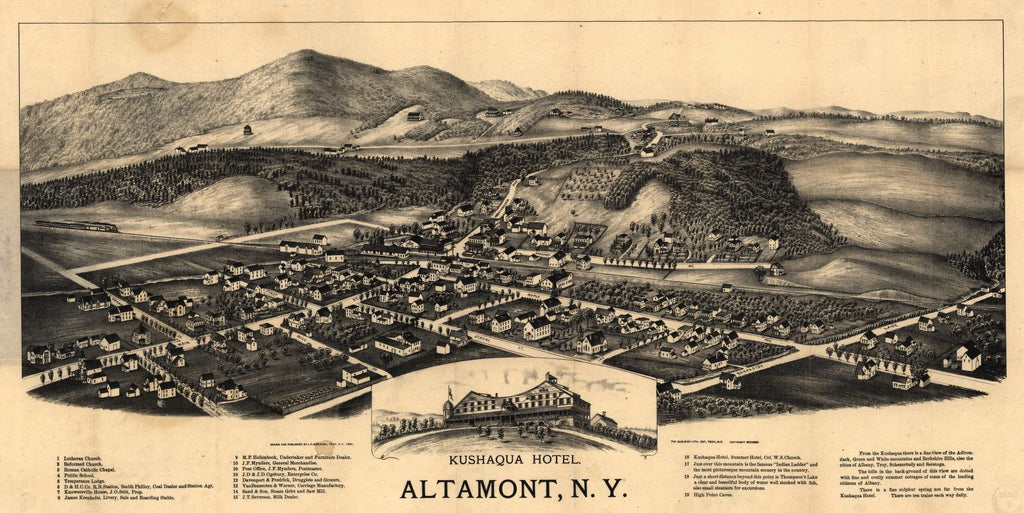 8 x 12 Reproduced Photo of Vintage Old Perspective Birds Eye View Map or Drawing of: Altamont, N.Y.  Burleigh, L. R. (Lucien R.) - Burleigh Litho - Burleigh, L. R.  1890