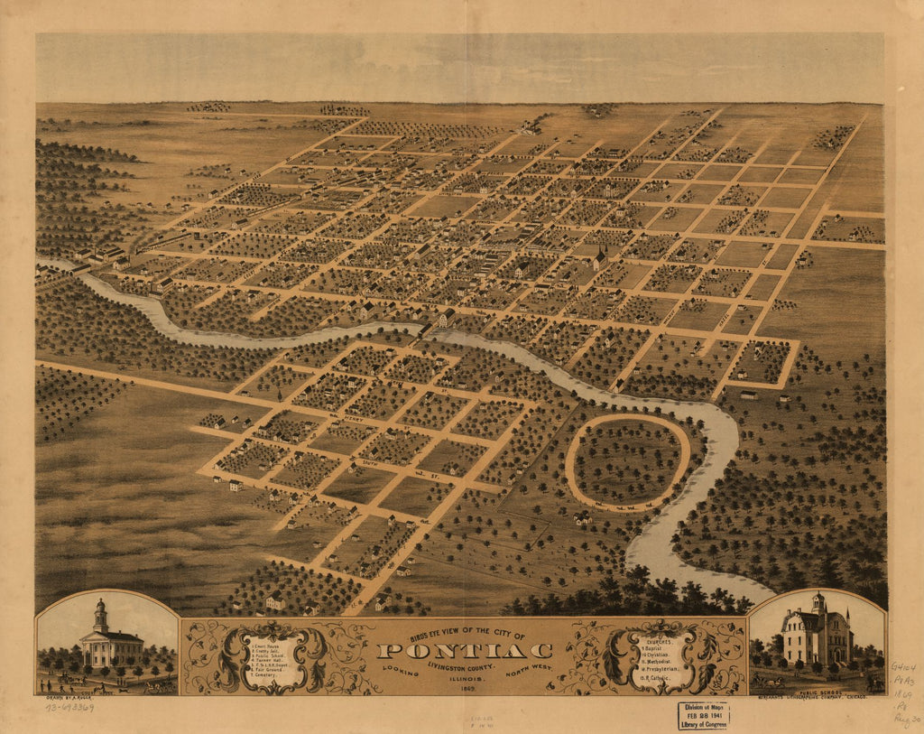 8 x 12 Reproduced Photo of Vintage Old Perspective Birds Eye View Map or Drawing of: Pontiac, Livingston County, Illinois 1869. Ruger, A. 1869