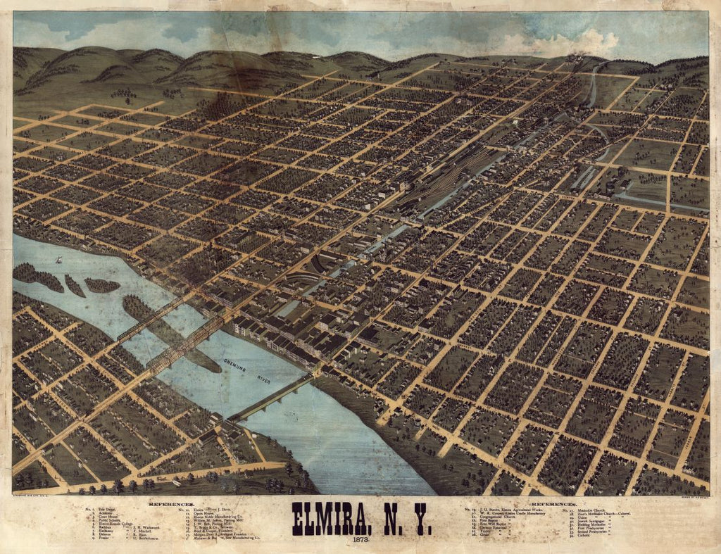 8 x 12 Reproduced Photo of Vintage Old Perspective Birds Eye View Map or Drawing of: Elmira, N.Y. : 1873   Bailey, H. H. (Howard Heston) - Strobridge & Co. Lith - Bailey, H. H.  1873
