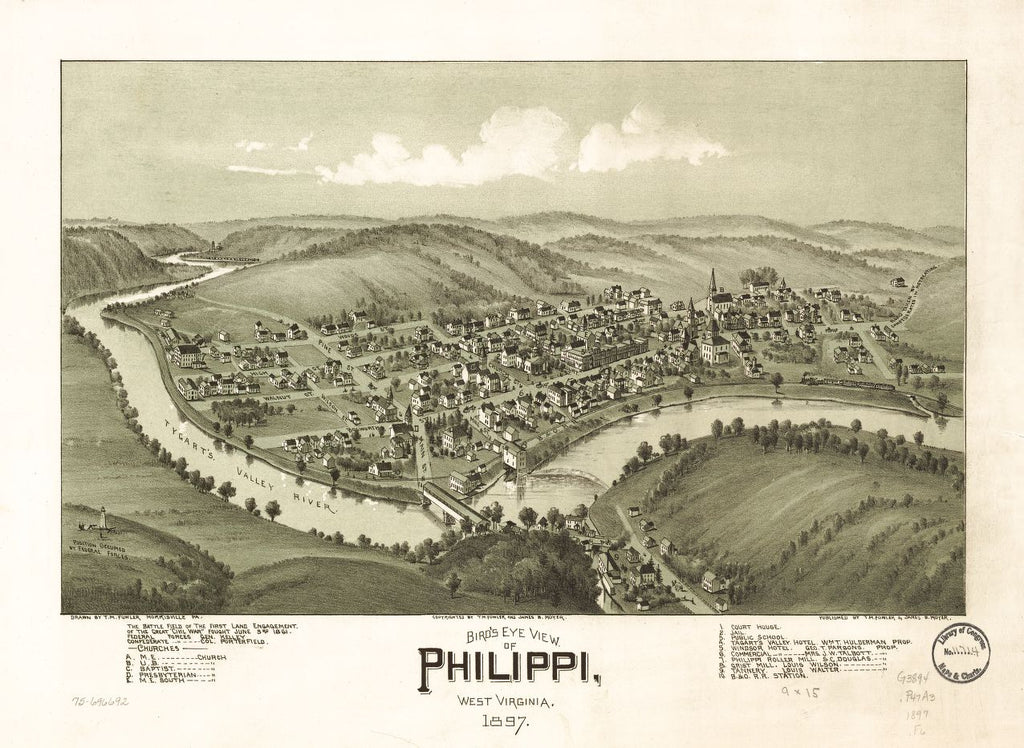 8 x 12 Reproduced Photo of Vintage Old Perspective Birds Eye View Map or Drawing of: Philippi, West Virginia 1897. Fowler, T. M. (Thaddeus Mortimer), 1842-1922.Moyer, James B. 1897