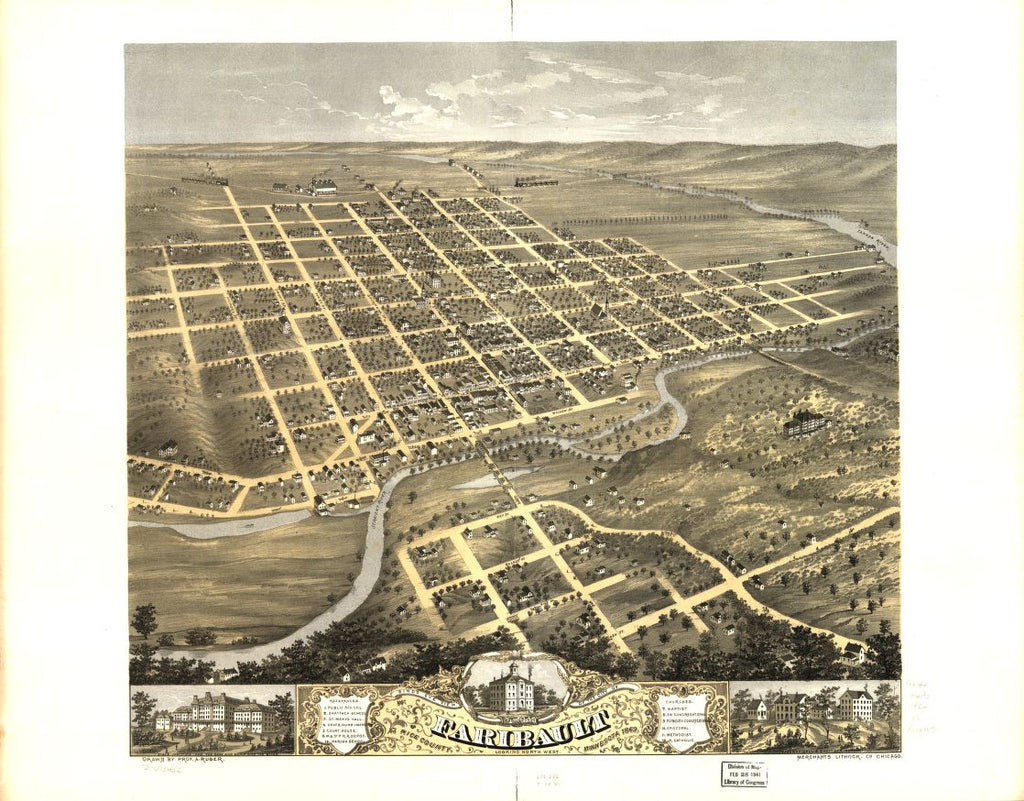 8 x 12 Reproduced Photo of Vintage Old Perspective Birds Eye View Map or Drawing of: Faribault, Rice County, Minnesota 1869. Ruger, A. 1869