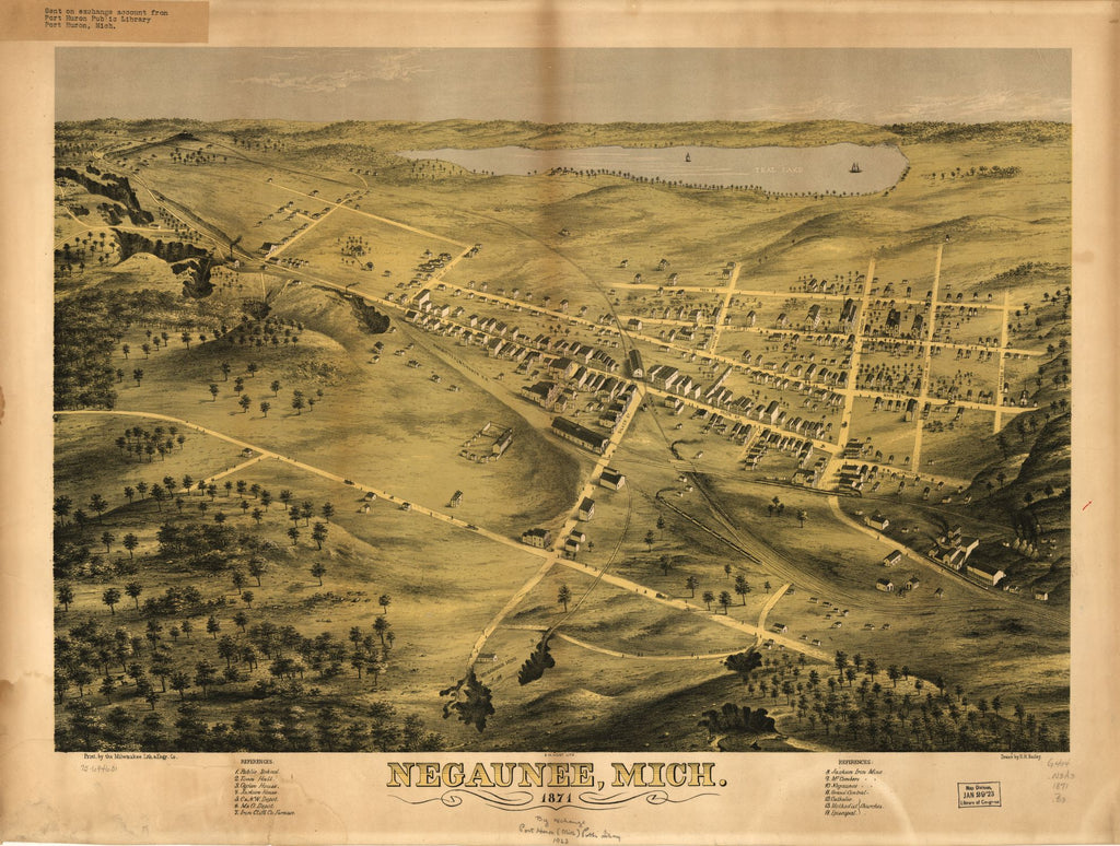 8 x 12 Reproduced Photo of Vintage Old Perspective Birds Eye View Map or Drawing of: Negaunee, Mich. 1871. Bailey, H. H. 1871
