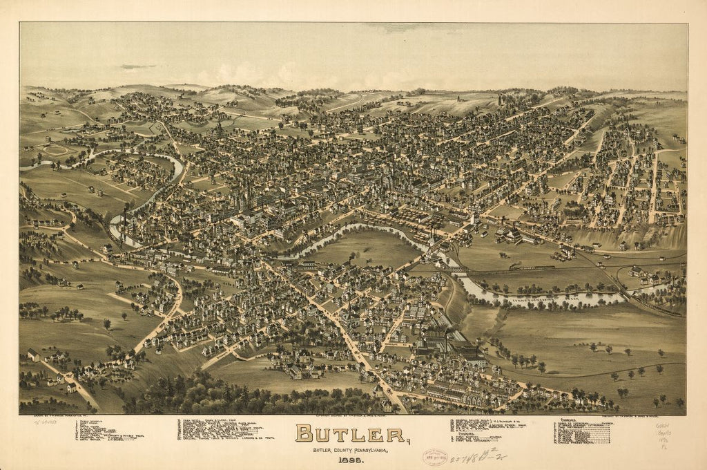 8 x 12 Reproduced Photo of Vintage Old Perspective Birds Eye View Map or Drawing of: Butler, Butler County, Pennsylvania, 1896. Fowler, T. M. - Moyer, James - Fowler, T. M. 1896