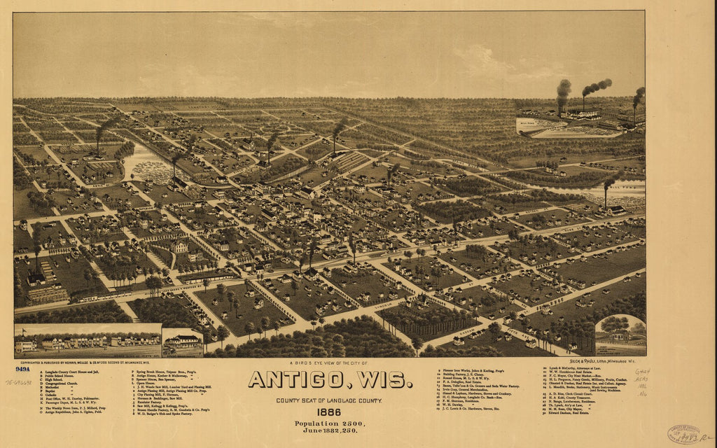 8 x 12 Reproduced Photo of Vintage Old Perspective Birds Eye View Map or Drawing of: A Antigo, Wis. county seat of Langlade County 1886. Norris, Wellge & Co. 1886