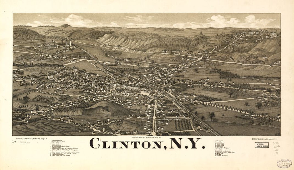 8 x 12 Reproduced Photo of Vintage Old Perspective Birds Eye View Map or Drawing of: Clinton, N.Y.  Burleigh, L. R. (Lucien R.) - Beck & Pauli - Burleigh, L. R.  1885