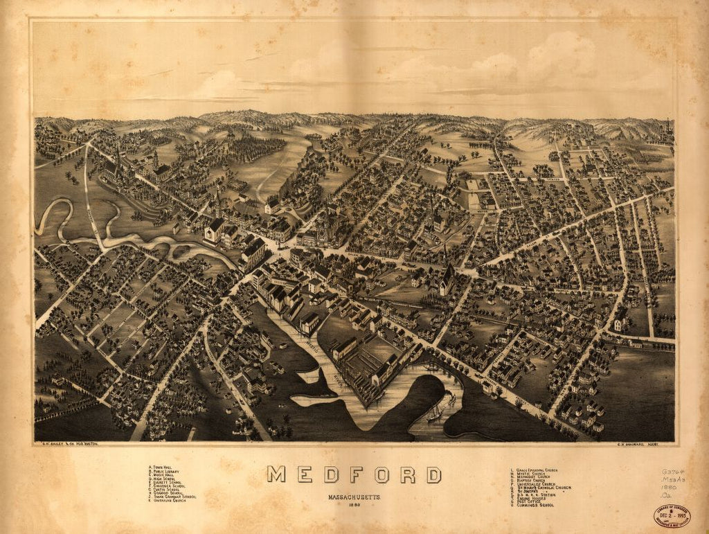 8 x 12 Reproduced Photo of Vintage Old Perspective Birds Eye View Map or Drawing of: Medford, Massachusetts : 1880.  O.H. Bailey & Co. - Brainard, Charles H. (Charles Henry)  1880