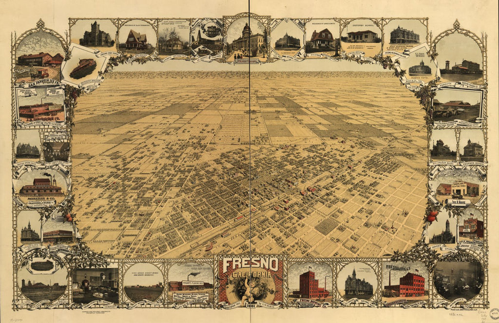 8 x 12 Reproduced Photo of Vintage Old Perspective Birds Eye View Map or Drawing of: Fresno, California 1901. Klein, L. W. c1901