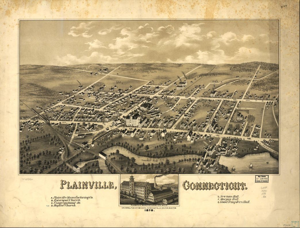 8 x 12 Reproduced Photo of Vintage Old Perspective Birds Eye View Map or Drawing of: Plainville, Connecticut 1878.  Bailey, O. H. (Oakley Hoopes) - Hazen, J. C. - C.H. Vogt (Firm) - Bailey, O. H.  1878