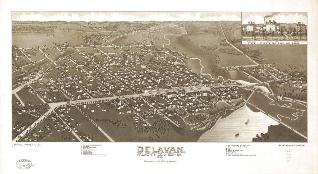 8 x 12 Reproduced Photo of Vintage Old Perspective Birds Eye View Map or Drawing of: Delavan, Walworth Co., Wisconsin 1884. Brosius, H. c1884