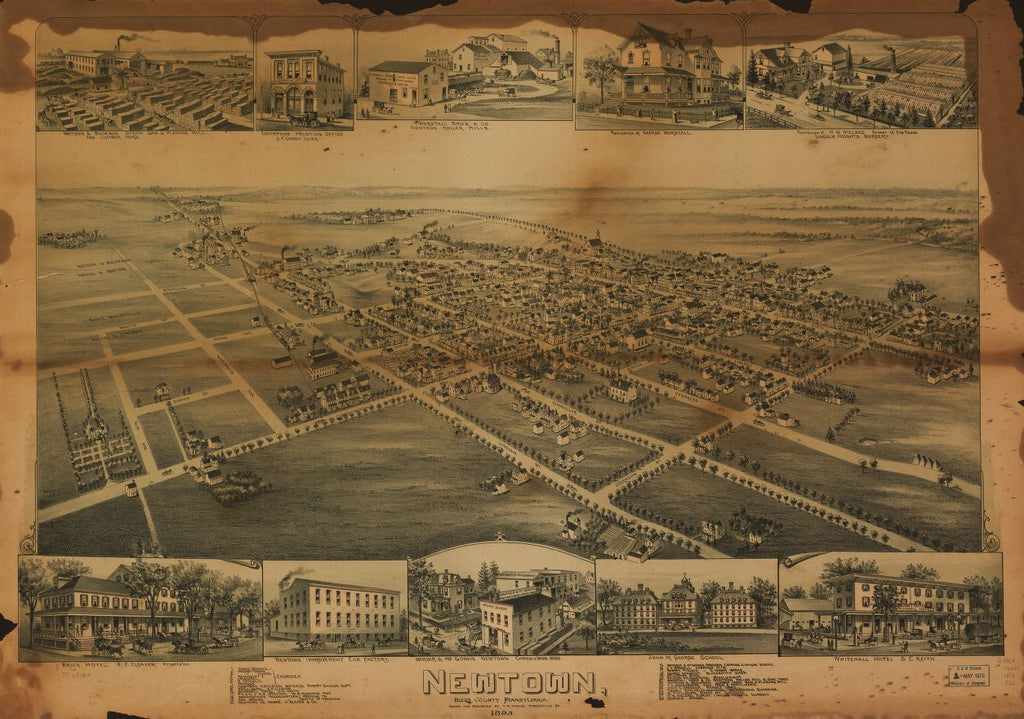 8 x 12 Reproduced Photo of Vintage Old Perspective Birds Eye View Map or Drawing of: Newtown, Bucks County, Pennsylvania. Fowler, T. M. - Fowler, T. M. 1893