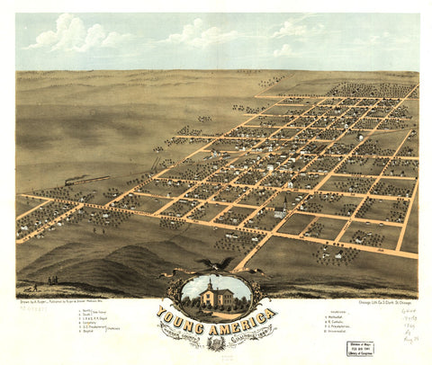 8 x 12 Reproduced Photo of Vintage Old Perspective Birds Eye View Map or Drawing of: Young America, Warren County, Illinois 1869. Ruger, A. 1869