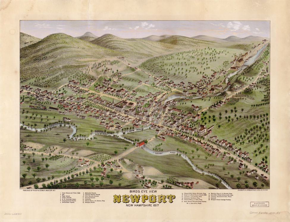 8 x 12 Reproduced Photo of Vintage Old Perspective Birds Eye View Map or Drawing of: view, Newport, New Hampshire, 1877.  Ruger & Stoner - Shober & Carqueville  1877
