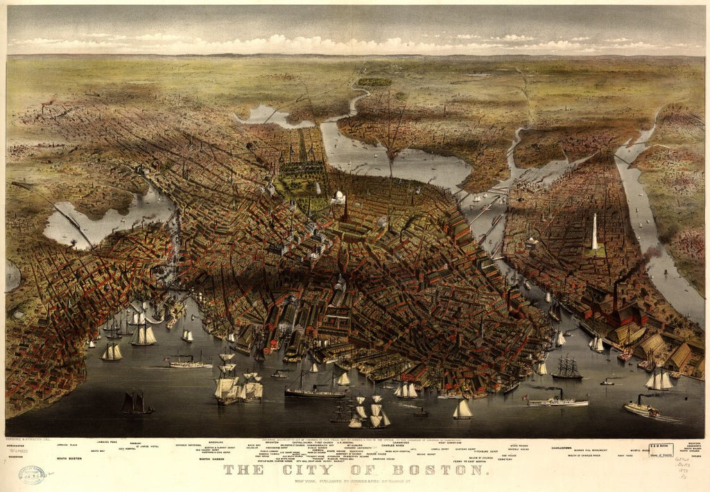 8 x 12 Reproduced Photo of Vintage Old Perspective Birds Eye View Map or Drawing of: Boston.  Parsons & Atwater - Currier & Ives  1873